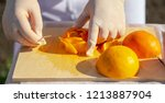the cook makes a decoration of... | Shutterstock . vector #1213887904