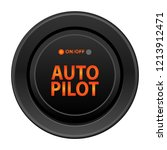 Round button in black, vector illustration. Inscriptions on, off, autopilot orange, light indicator. Realistic button for internet applications and games, isolated on white background.