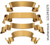 gold glossy vector ribbons on a ... | Shutterstock .eps vector #121393375