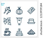 simple set of  9 outline icons... | Shutterstock .eps vector #1213959184