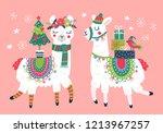 cute llama character christmas...   Shutterstock .eps vector #1213967257