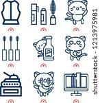 simple set of  9 outline icons... | Shutterstock .eps vector #1213975981