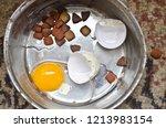 close up of metal dog food bowl ... | Shutterstock . vector #1213983154