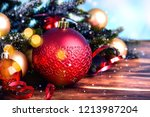 christmas background with fir... | Shutterstock . vector #1213987204