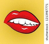 pop art woman lips retro style... | Shutterstock . vector #1213987771