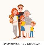 big happy multi generational... | Shutterstock .eps vector #1213989124