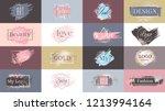 gold paint ink brushstroke set  ... | Shutterstock .eps vector #1213994164