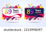 89 years pop anniversary modern ... | Shutterstock .eps vector #1213998397