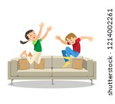 happy laughing kids jumping on... | Shutterstock .eps vector #1214002261