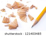 Wooden Pencil Shavings On Whit...