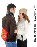 isolated young christmas couple ... | Shutterstock . vector #121404379