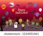 happy halloween party vector...   Shutterstock .eps vector #1214051461