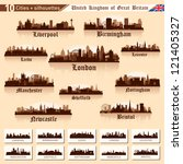 city skyline set. great britain.... | Shutterstock .eps vector #121405327