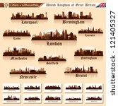 city skyline set. great britain.... | Shutterstock .eps vector #121405327