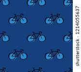 bicycle seamless doodle pattern | Shutterstock .eps vector #1214055637