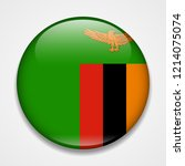 flag of zambia. round glossy...   Shutterstock .eps vector #1214075074