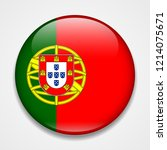 flag of portugal. round glossy... | Shutterstock .eps vector #1214075671