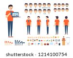 front  side  back view animated ... | Shutterstock .eps vector #1214100754
