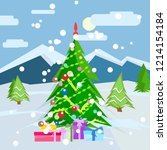 merry christmas and happy new... | Shutterstock . vector #1214154184