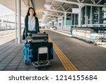 businesswoman walking fast... | Shutterstock . vector #1214155684