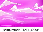 vector purple sky clouds. anime ... | Shutterstock .eps vector #1214164534