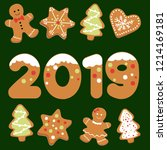 ginger bread post card  | Shutterstock .eps vector #1214169181