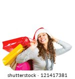 happy fashion woman with... | Shutterstock . vector #121417381