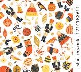 seamless retro christmas vector ... | Shutterstock .eps vector #1214183611