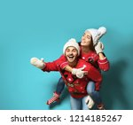 young couple in christmas... | Shutterstock . vector #1214185267