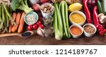 healthy vegan and vegetarian... | Shutterstock . vector #1214189767