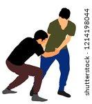 two boys fighting vector...   Shutterstock .eps vector #1214198044