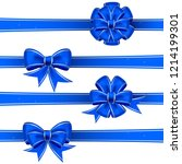 set from blue christmas bows | Shutterstock .eps vector #1214199301
