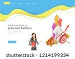 isometric flat vector landing... | Shutterstock .eps vector #1214199334