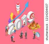 isometric flat concept of 2019  ... | Shutterstock . vector #1214204437