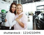 tall pretty woman and a fat...   Shutterstock . vector #1214210494
