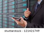 businessman hand using tablet...   Shutterstock . vector #121421749