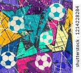 seamless textile football...   Shutterstock .eps vector #1214228284