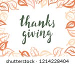 thanksgiving lettering.... | Shutterstock .eps vector #1214228404