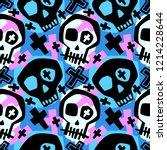 skull funky boys and girls... | Shutterstock .eps vector #1214228644