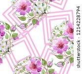 watercolor ornamet of pink... | Shutterstock . vector #1214228794