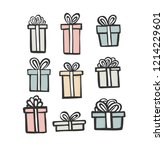 gift icon set. color simple... | Shutterstock .eps vector #1214229601