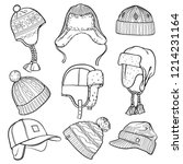 set of 9 winter caps and hats... | Shutterstock .eps vector #1214231164