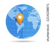 globe earth flat with orange... | Shutterstock .eps vector #1214238871
