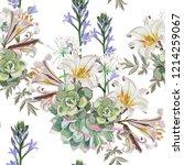 seamless vector floral pattern. ... | Shutterstock .eps vector #1214259067