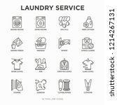 laundry service thin line icons ... | Shutterstock .eps vector #1214267131