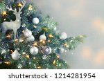 closeup of christmas tree... | Shutterstock . vector #1214281954