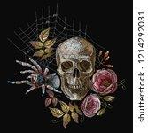 embroidery  human skull  roses... | Shutterstock .eps vector #1214292031