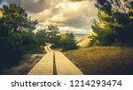 wood walk in nida  lithuania | Shutterstock . vector #1214293474