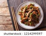 traditional asian beef teriyaki ... | Shutterstock . vector #1214299597