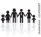 silhouettes of woman man kid... | Shutterstock .eps vector #1214303287
